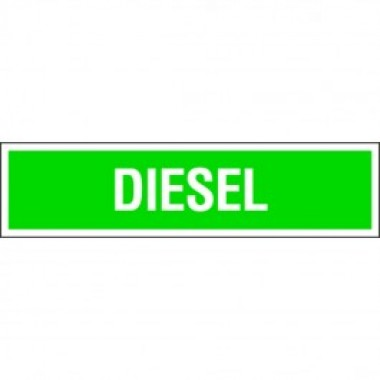 """4"""" X 13.5"""" Diesel Sticker White on Green. Diesel decals from Vulcan Companies."""