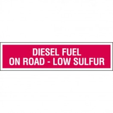 "4"" X 13.5"" Diesel Fuel On Road Low Sulfur Decal - Fire Red Reverse On White. Safety decals from Vulcan Companies."