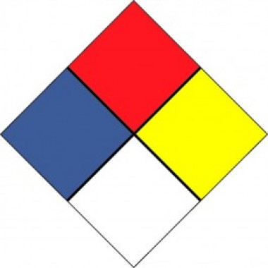 "15"" X 15"" Hazard Truck Placard Decal - Fire Red/Ultra Blue/Lemon Yellow/ Black On White. Safety decals from Vulcan Companies."