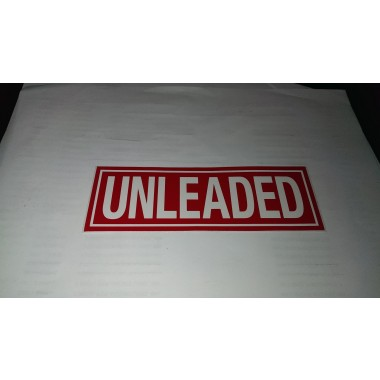 "2"" X 6"" Unleaded Decal -S/F- Fire Red Reverse On White. Petroleum decals from Vulcan Companies."