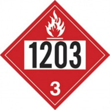 "10.75"" X 10.75"" Gasoline Hazard Classification Class 3 Truck Placard Decal - Fire Red Reverse/ Black On White. Safety decals from Vulcan Companies."