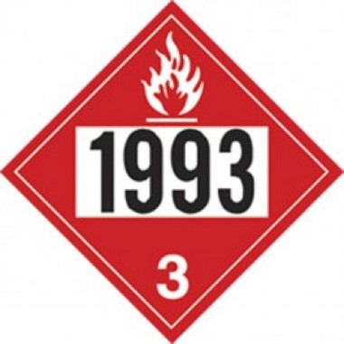"10.75"" X 10.75"" Fuel Oil Hazard Classification 3 Truck Placard Decal - Fire Red Reverse/Black On White. Safety decals form Vulcan Companies."