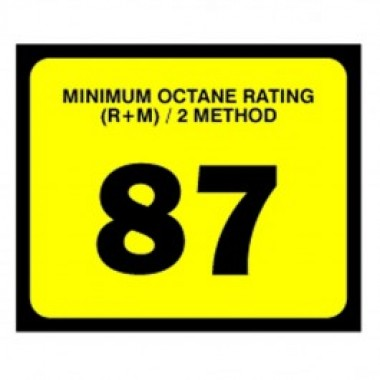 "2.5"" X 3"" # 87 Octane Rating Decal - Black On Yellow. Petroleum octane decals from Vulcan Companies."