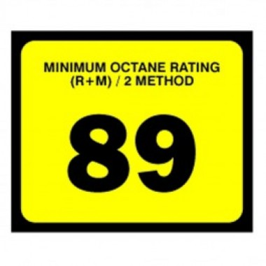 "2.5"" X 3"" # 89 Octane Rating Decal - Black On Yellow. Petroleum octane decals from Vulcan Companies."