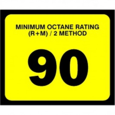 "2.5"" X 3"" # 90 Octane Rating Decal - Black On Yellow. Petroleum octane decals from Vulcan Companies."
