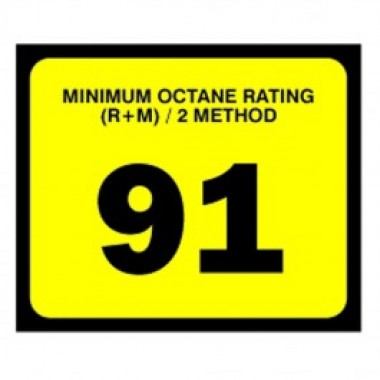 "2.5"" X 3"" # 91 Octane Rating Decal - Black On Yellow. Petroleum octane decals from Vulcan Companies."