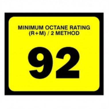 "2.5"" X 3"" # 92 Octane Rating Decal - Black On Yellow. Petroleum Octane Decals from Vulcan Companies."