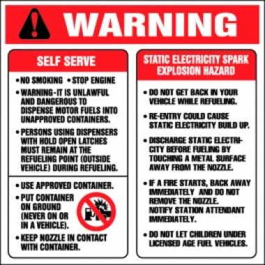 """6""""X6""""  Warning..Static Electricity Spark Explosion Hazard - Decal - Fire Red/Black On White. Safety Decals from Vulcan Companies."""