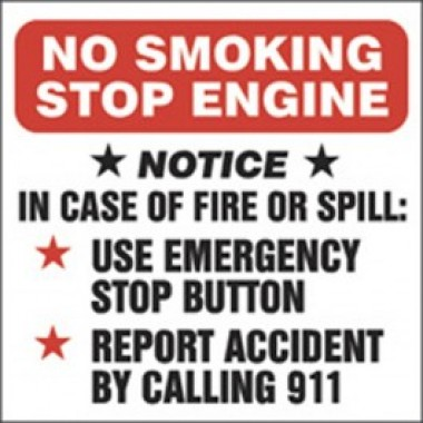 "6"" X 6"" No Smoking Stop Engine... Call 911 - Decal - Fire Red/Black On White. Safety Decals from Vulcan Companies."