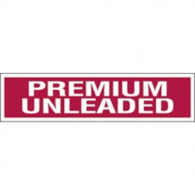 "3"" X 12"" Decal -S/F- Fire Red Reverse On White- Premium Unleaded. Petroleum Parts fro Vulcan Companies."