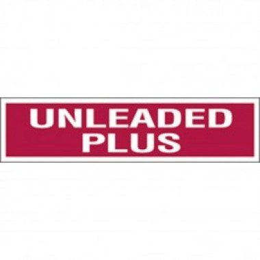 "3"" X 12"" Decal-S/F- Fire Red Reverse On White- Unleaded Plus. Petroleum Parts from Vulcan Companies."