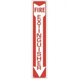 "4 x 24"" Aluminum Fire Extinguisher Arrow - Fire Red Reverse On White. Petroleum parts from Vulcan Companies."